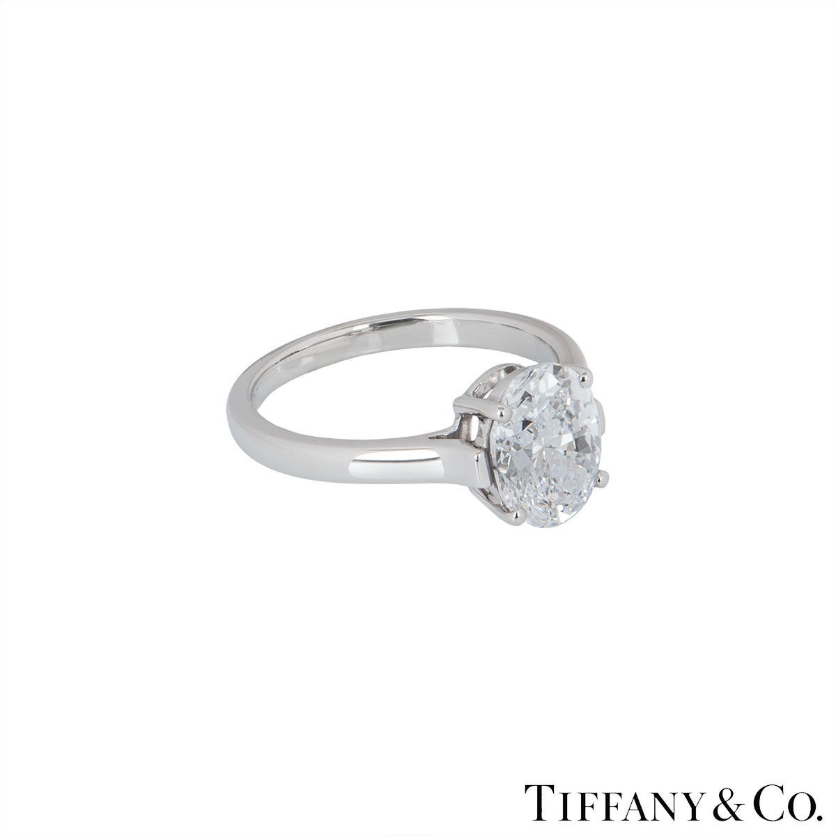 Tiffany & Co. Platinum Oval Diamond Ring 2.06ct D/VVS2